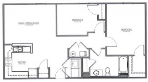 2 Bedroom Apartment Floor Plan (The Clover)