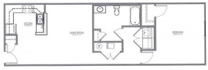 1 Bedroom Apartment Floor Plan (The Elm)