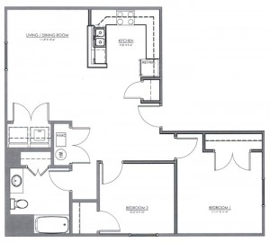 2 Bedroom Apartment Floor Plan (The Ivy)