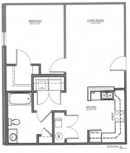 1 Bedroom Apartment Floor Plan (The Oaks)